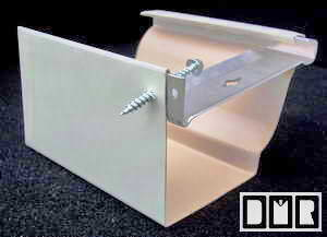 Here is a close-up of a hidden hanger and screw, in an almond painted aluminum gutter
